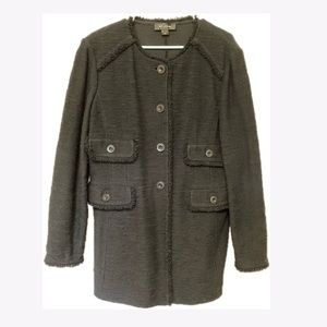 St. John Black Knit Boucle Coat 16